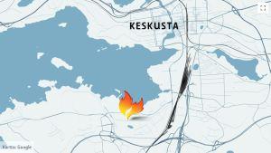 Kartta tulipalon sijainnista