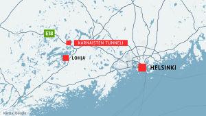 Kartta Karnaisten tunneli
