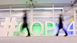 #COP24-logo ilmastokokouksen pitopaikassa Puolan Katowicessa.