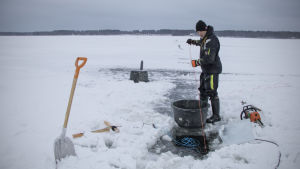 Kalastaja talviverkoilla.