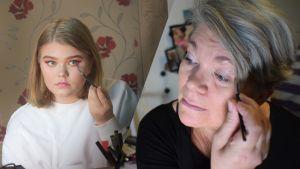 Meikkausjutun pääkuva, äiti ja tytär meikkaavat
