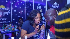 Laplandia vodkan esittelypiste Lagosin vuoden 2018 International Drinks Festival -tapahtumassa.
