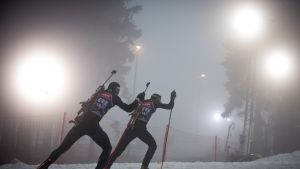 Venäjän ampumahiihtäjiä kuvassa
