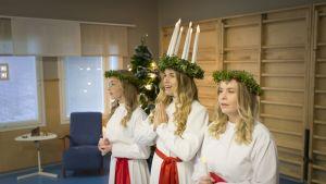 Lucia ja kynttilätytöt laulamassa päiväkodissa Kokkolassa