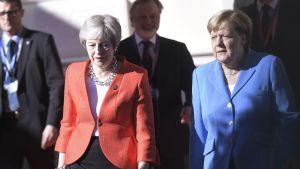 Theresa May ja Angela Merkel Salzburgissa, Itävallassa syyskuussa 2018.
