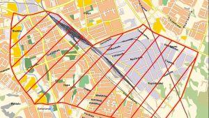 Karttaan on merkitty Seinäjoen keskustan ilotulitekieltoalue ajalla 31.12.2018 klo 18.00 - 1.1.2019 klo 2.00.