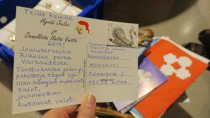 Hoivakotiin lähetetty joulukortti