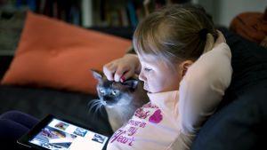 Lapsi katsoo ohjelmaa tabletilta Yle Areenan kautta.
