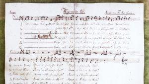 Vanhat nuotit ja kaunikirjoituksella saksaksi joululaulun sanat.