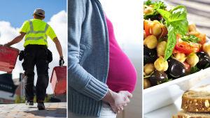 työmies, raskaana oleva nainen ja kasviskeitto