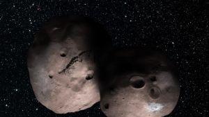 Kahdesta pyöreästä murikasta muodostunut asteroidi tähtien täplittämässä avaruudessa.