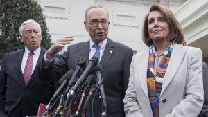 Chuck Schumer ja Nancy Pelosi puhuivat lehdistölle 2. joulukuuta tavattuaan presidentin Valkoisessa talossa.