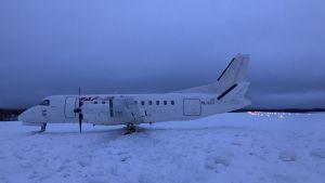 Kiitotieltä ulos ajautunut matkustajalentokone Saab 340 Savonlinnan lentokentällä 7.1.2019