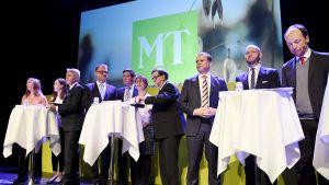 Puolueiden puheenjohtajia Maaseudun Tulevaisuuden ja MTK:n ilmastoaiheissa vaalitentissä Helsingissä 9. tammikuuta.