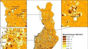 Yövalaistuksen muutos Suomessa vuodesta 1993 vuoteen 2012.