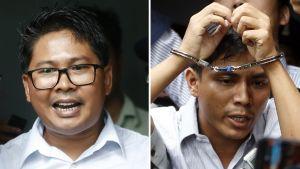 Kuvat journalisteista. Kyaw Soe Oolla on kädessään käsiraudat.