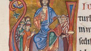 Maalaus Jeesuksesta ja joukosta kirkonmiehiä ja munkkeja.