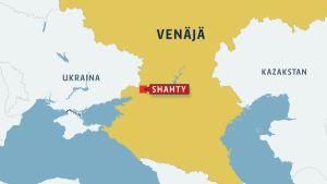 Venäjän kartta jossa Shahty