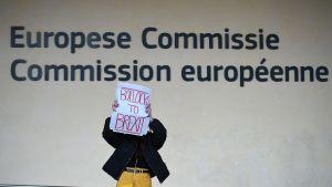 Brittituristi pitelee brexitin vastaista kylttiä EU-komission rakennuksen edustalla Brysselissä.