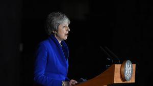 Sivukuva Theresa Maysta, jolla sininen jakkupuku. Puhujapömpeli edessä.