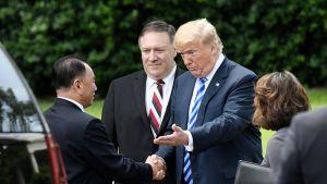 Kim Jong Cho, Donald Trump  ja Mike Pompeo Kesäkuussa 2018.