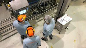 Kolme työntekijää tuotantolaitoksen laitteiden äärellä.