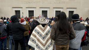Amerikan alkuperäisväestöön kuuluvien marssi järjestettiin Washingtonissa 18. tammikuuta 2019.