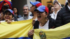 Venezuelalaisia mielenosoittajia