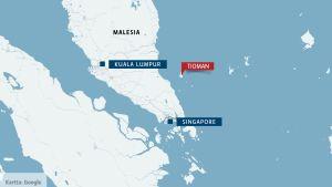 Tioman -saari kartalla.