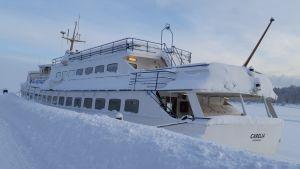 Risteilyalus Carelia Lappeenrannan satamassa 28. tammikuuta 2019.