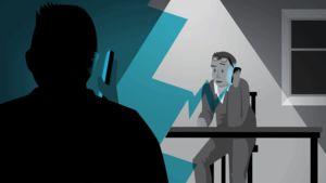 Valepoliisi soittaa puhelua animaatiossa.