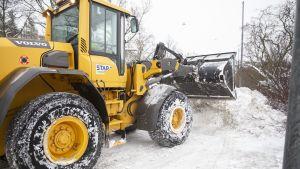 traktori kolaamassa lunta