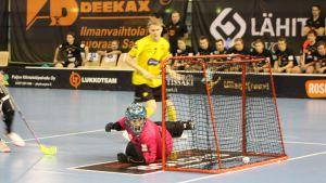 Welhojen maalivahti Roni Tuononen jonka ohi pallo on juuri mennyt maaliin.