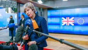 Britannian pääministeri Theresa May puhui toimittajille tavattuaan Eurooppa-neuvoston puheenjohtajan Donald Tuskin Brysselissä.