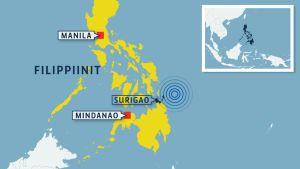 Karttakuva Filippiinit maanjäristys
