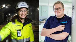 Insinööriopiskelija Anna Äijö ja kätilöopiskelija Valtteri Markula.