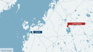 kartta jossa lappajärvi