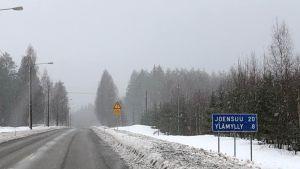 Liperintie Salokylän kohdalla helmikuussa 2019.