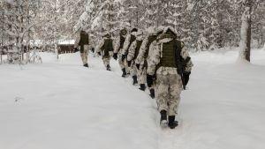 Alokkaat kulkevat jonossa lumisessa metsässä polkua pitkin aseet olalla