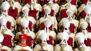 Useita kardinaaleja istuu penkeillä.