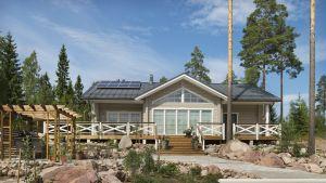 Hyvinkään asuntomessuilla vuonna 2013 yleisön suosikiksi valittiin tämä talo, Kimara Aurinkorinne.