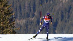 Ristomatti Hakola vapaan hiihtotavan kisassa Toblachissa.