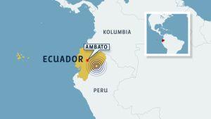 Ecuador ja Ambaton kaupunki kartalla.