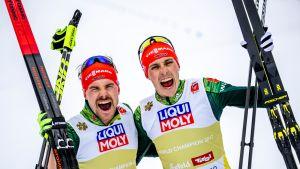 Fabian Riessle (vas) ja Eric Frenzel (oik)