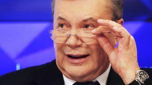 Ukrainan entinen presidentti Viktor Janukovitš puhui Moskovassa 6. helmikuuta.