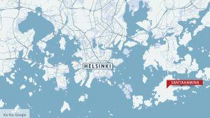Kartta, josta näkyy Santahaminan saaren sijainti Helsingissä.