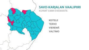 Kartta Savo-Karjalan vaalipiiristä missä korostettuna kunnat ketkä jäävät ilman ehdokkaita vuoden 2019 eduskuntavaaleissa.
