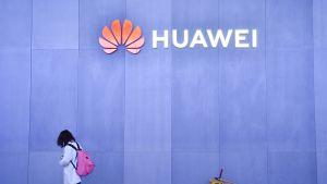 Huawein logo seinässä.