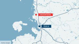 Oulu ja Haukipudas kartalla.