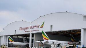 Kuvassa Ethiopian Airlinesin lentokoneita Addis Abeban lentokentällä.